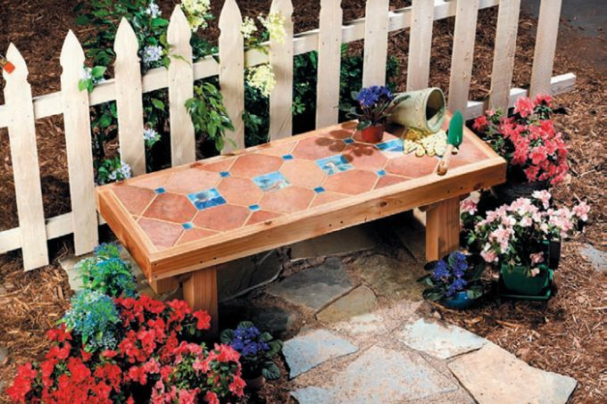 A Diy Ceramic Tile Bench Garden Pinterest Ceramics