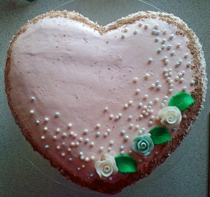 Słodkie serduszko torcik