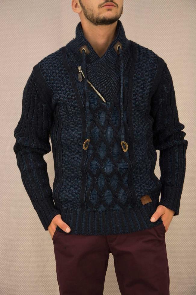 Ανδρικό πουλόβερ πλέξη ρόμβοι  PLEK-2694 Πλεκτά - Πλεκτά και ζακέτες