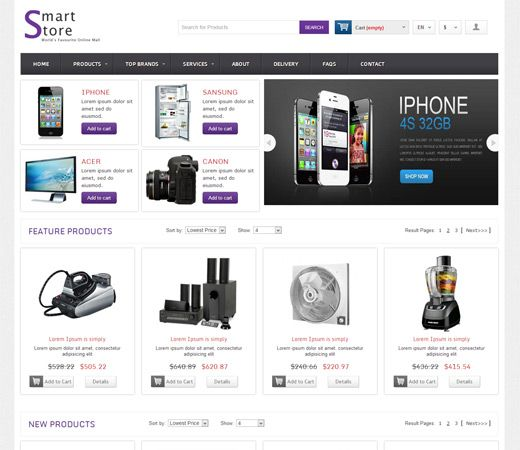 Home Shoppe Online Shopping Cart Mobile Website Template By - Free ecommerce website templates shopping cart