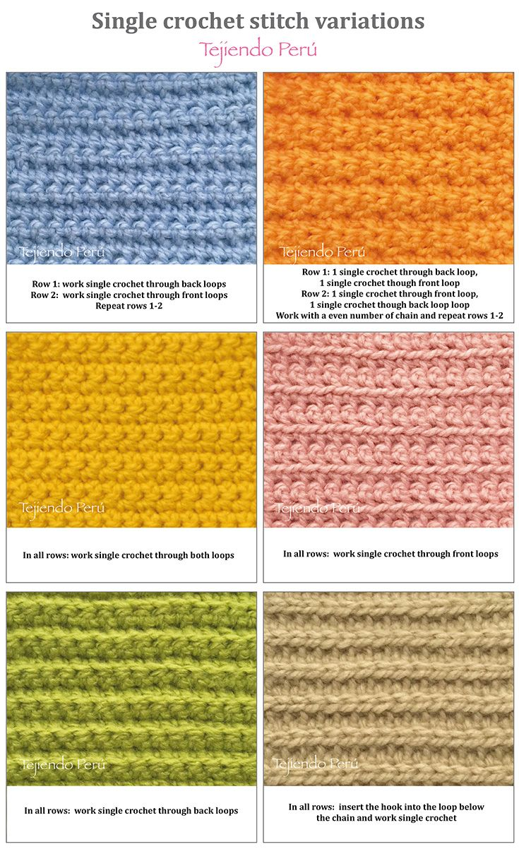 Crochet: single crochet stitch variations!6  ༺✿ƬⱤღ  https://www.pinterest.com/teretegui/✿༻