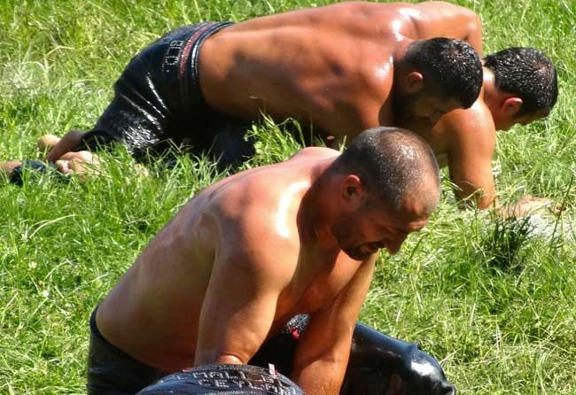 Kirkpinar Oil Wrestling Championships  held on the Sarayiçi island near Edirne It now holds a Guinness World Record for the longest running sports competition. usually in late June, since 1346.