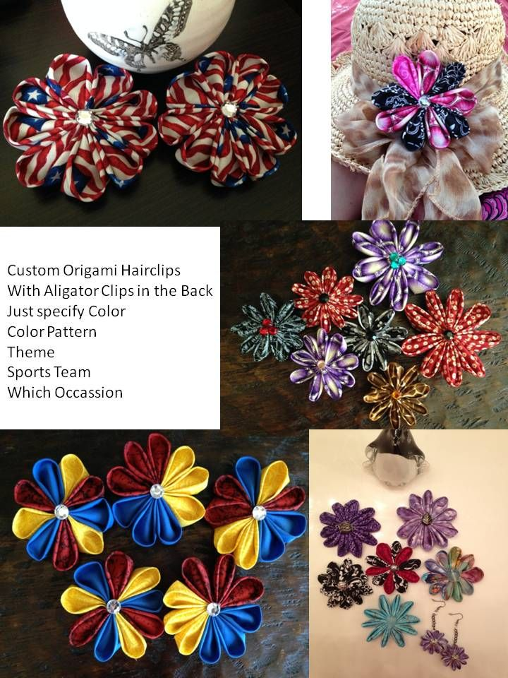 Custom Origami Hair Clips with Aligator Clips in the back for any Occasions, Any Theme, Any Colors, Any Team, Any Combo Colors Just Ask