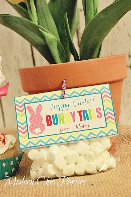 """""""Bunny Tails"""" Easter Treat Tag"""