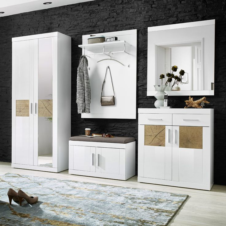 e-combuy Angebote Garderoben Set 5 tlg. JANISO258 weiß Hochglanz - Hirnholz Nachbildung: Category: Garderoben-Sets Item…%#Quickberater%