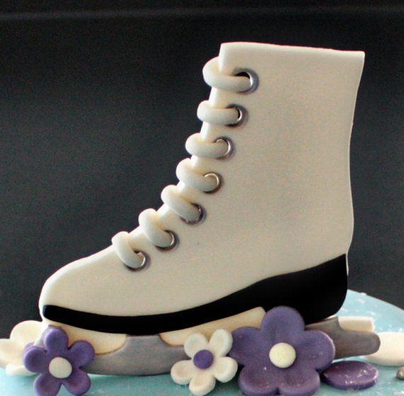 Patin à glace fondant Cake Topper pois fleurs par parkersflourpatch