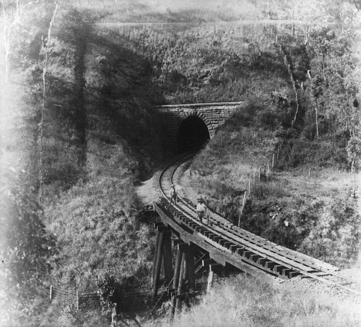 Railway tunnel and bridge on the Western Line near Toowoomba, 1887.