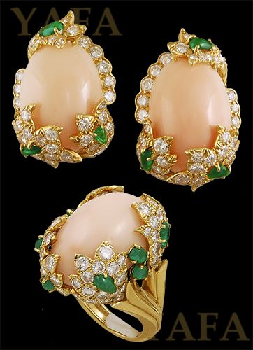 DAVID WEBB Coral, Diamond and Emerald Earrings and Ring - Yafa Jewelry
