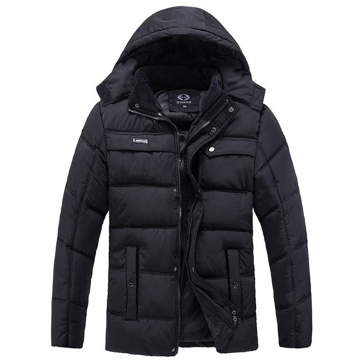 Al aire libre ocasional espesa el Warm Multi-bolsillos capucha desmontable chaqueta acolchada para los hombres