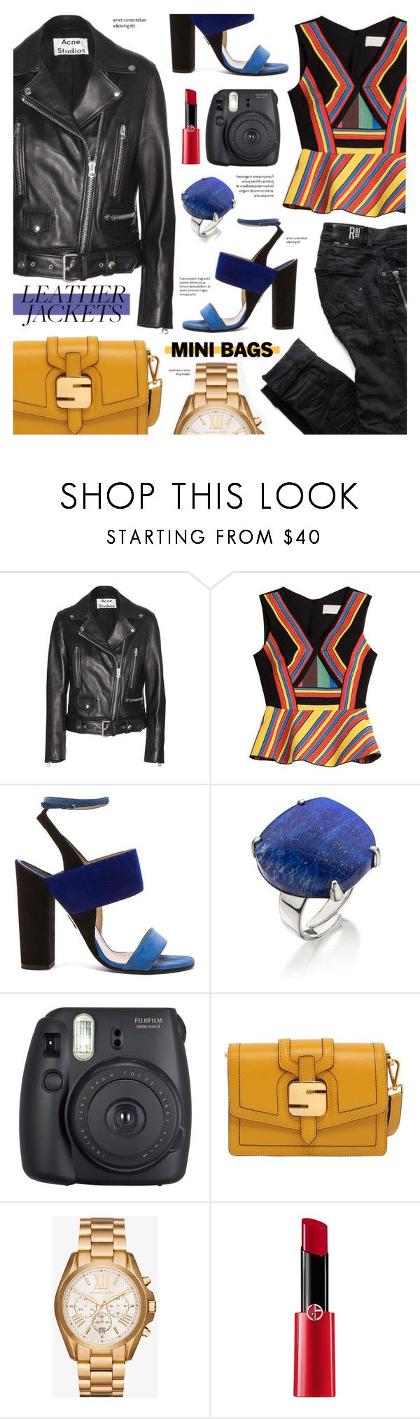 Leather jacket - street style by cly88 on Polyvore featuring Peter Pilotto, Acne Studios, Paul Andrew, Serapian, Michael Kors, Lazuli, Giorgio Armani and Fuji