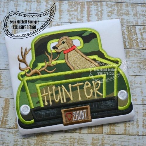 Hunting truck no gun applique - Beau Mitchell Boutique