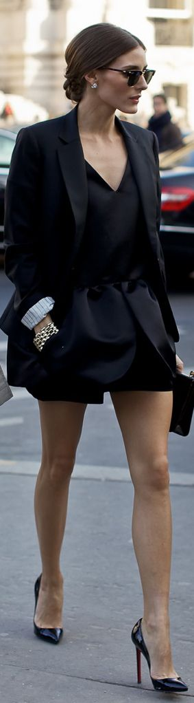 Olivia Palermo in Peplum mini dress and blazer, Christian Louboutin Pigalle pumps