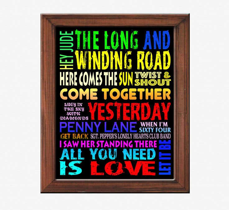 "Colorful 8"" x 10"" Beatles Song Titles Wall Art - Printable by PrintedInspiration on Etsy"