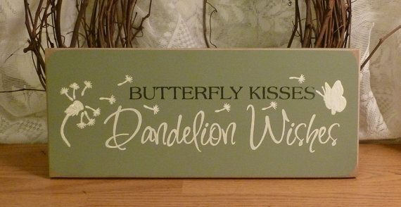 Butterfly Kisses Dandelion Wishes Painted by 2ChicksAndABasket, $12.45