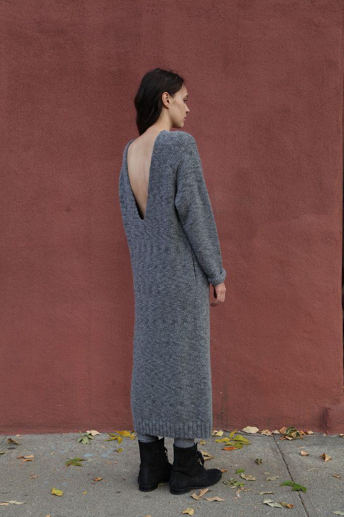 Lauren Manoogian Knit V Dress in Charcoal | Beautiful Dreamers