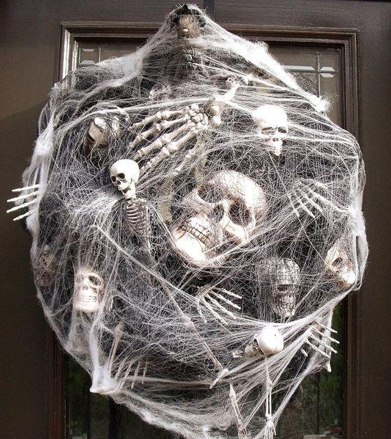 Sinister Halloween Wreath, Skull Wreath, Skull and Bones Halloween Decor, Skeleton Halloween Door Decor, Webs & Bones