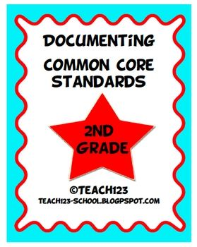 $5  2nd GRADE COMMON CORE STANDARDS    Make your life easier with this documenting packet.
