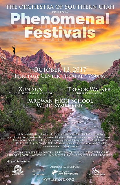 Opening Concert on Oct. 12.   Looking forward to seeing you there. Orchestra of Southern Utah: Phenomenal Festivals: Season Opens on Oct. 12