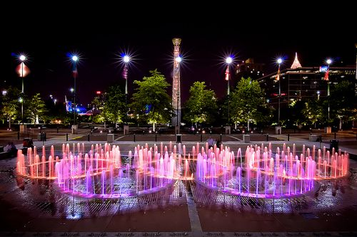 Atlanta - Centennial Olympic Park. An almost uncomfortable juxtaposition of wealth and poverty, but absolutely gorgeous at night.: