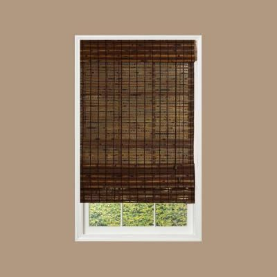 Radiance cocoa havana bamboo roman shade 27 in w x 72 in l home home depot and shades Home decorators collection bamboo blinds