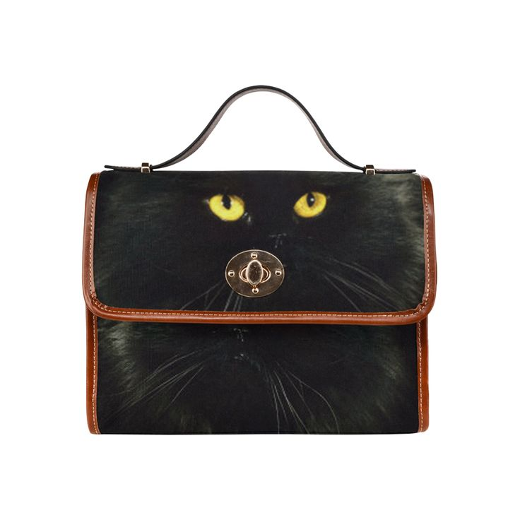 Black Cat Waterproof Canvas Bag/All Over Print (Model 1641)