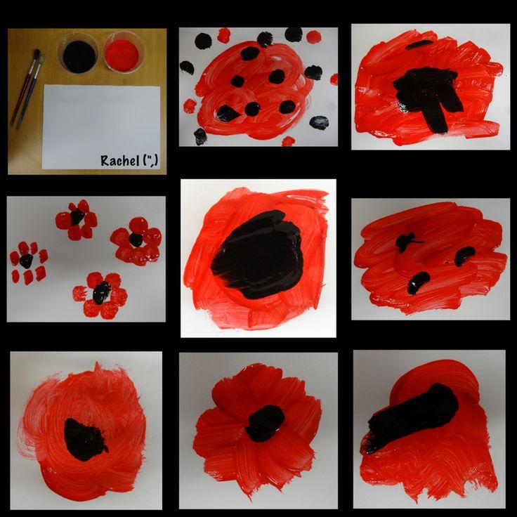"Fingerprint and paint poppies from Rachel ("",)"