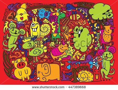 Hand drawing cartoon character,animal .Doodles vector illustration.