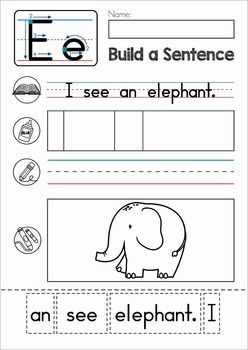 Letter of the Week E. Build a sentence cut and paste activity with CVC words for beginning and struggling readers.