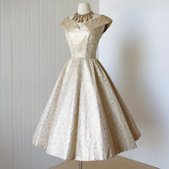 vintage 1950's dress ...never worn dior inspired SUZY PERETTE gold metallic…