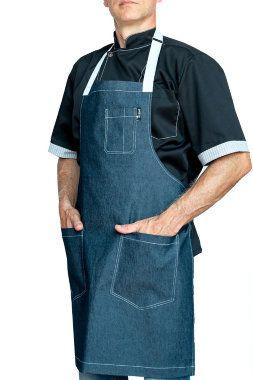 FD B16W - Фартук повара Джинсовый синий с белой завязкой  Фартук поварской джинсовый E-Chef.  (оттенок на фото может отличаться от реального)  Цвет синий.  Цвет завязок - белый.  Отстрочка - белая.   Карман на груди.  2 кармана снизу. Ткань: 100% хб (джинс) Длина 90 см. Ширина 85 см.