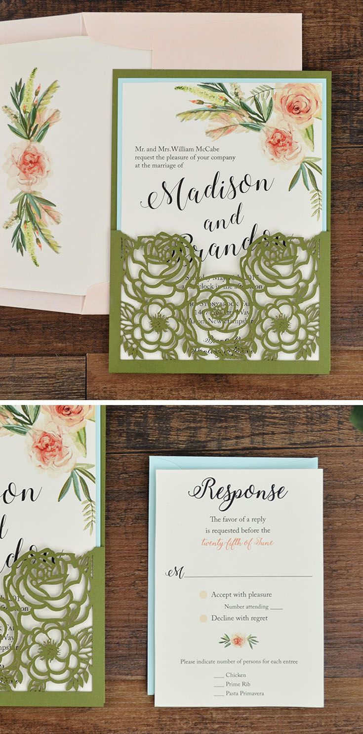 Laser cut Wedding Invitation This floral laser