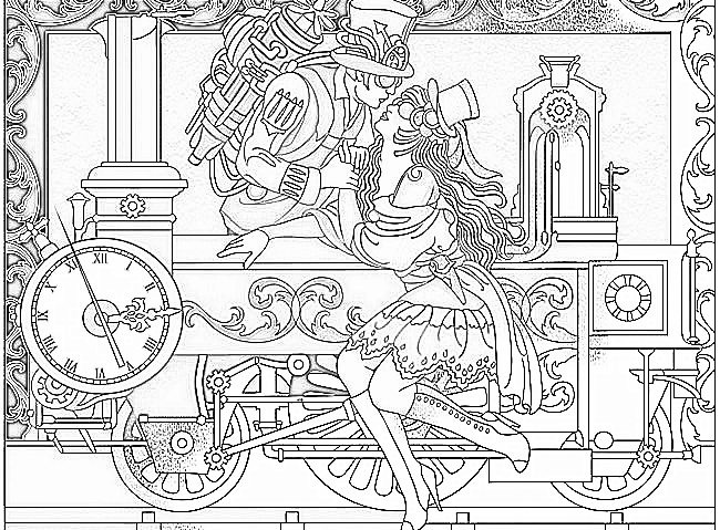 victorian steampunk coloring pages - photo#33