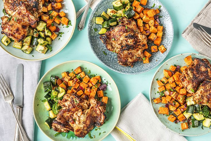 Sticky Honey Roasted Chicken with Sweet Potatoes and Zucchini