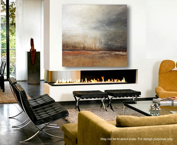 Large abstract over modern fireplace living rooms for Large modern fireplaces