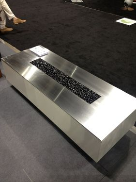 Linear Fire Pit Shown In Shiny Stainless Steel, Beautiful Clean Lines