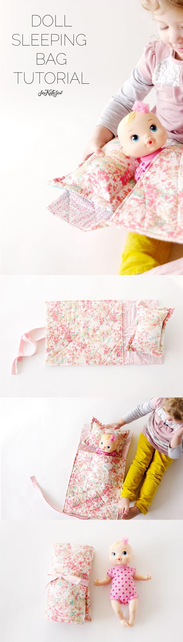 Doll sleeping bag tutorial   See Kate Sew (would make a darling Christmas present)