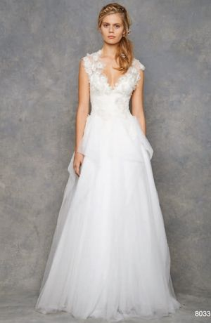 Awesome Bridal Gowns David Fielden A Line Wedding Dress with V Neck Neckline and