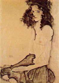 エゴン・シーレ 「 黒いスカートの女性 」1911 | アレン記念美術館、オベリン、オハイオ州