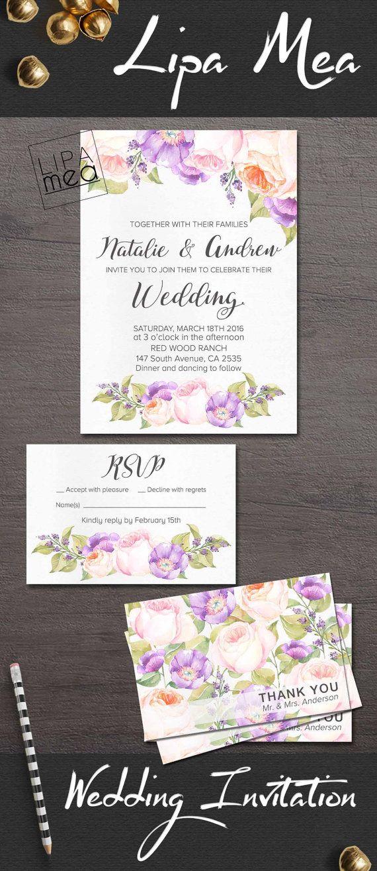 Floral Wedding Invitation Suite, Printable Wedding Invitation, Peach & Purple Wedding Invitation, Lilac Wedding Invite, Peony Wedding Invite. lipamea.etsy.com