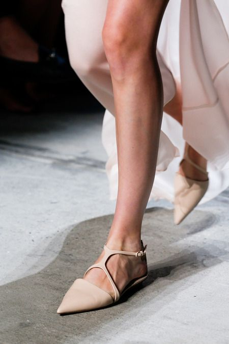 Long skirts with pointed flats at Narciso Rodriguez