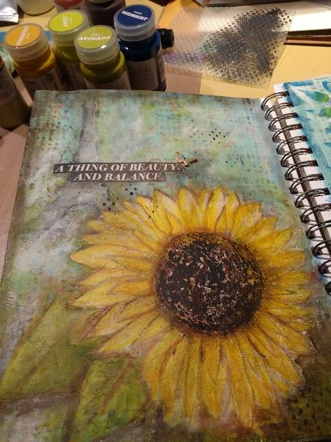 Sunflower journal page.  Target Acrylic paints,  stencils