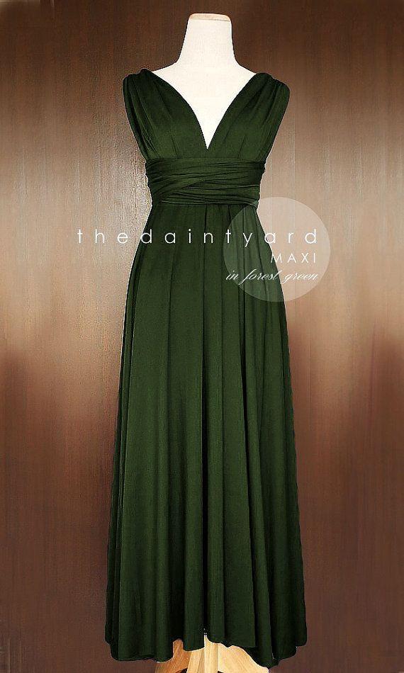 MAXI Forest Green Bridesmaid Dress Convertible Dress Infinity Dress Multiway Dress Wrap Dress Green Full Length Dress Cocktail Dress