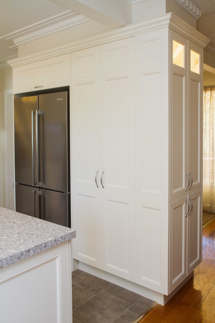 Traditional kitchen. Large pantry cabinets. www.thekitchendesigncentre.com.au