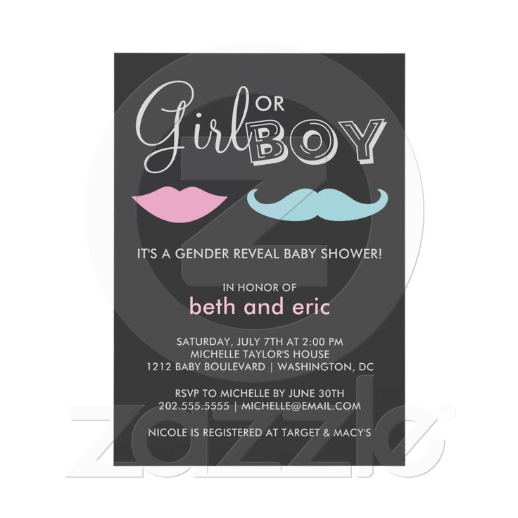 Gender Reveal Baby Shower Custom Announcements from Zazzle.com