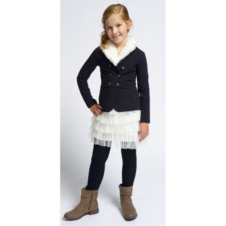 Pom Pom Vestje Met Bond Navy bij Minimoda. #Meisjeskleding #Meisjes #Kinderkleding