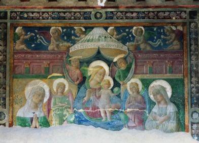 Pierantonio Mezzastris - Madonna con il Bambino fra sant'Anna e la beata Angelina - affresco - post 1481 - Monastero di Sant'Anna a Foligno