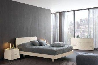 Camera da letto moderna in rovere bianco laccato a poro aperto 253
