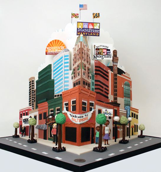 Charm City Cakes sculpted cake representing Main St in Baltimore, MD.
