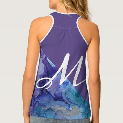 Trendy Ultra Violet Watercolor Turquoise Monogram Tank Top - artists unique special customize presents