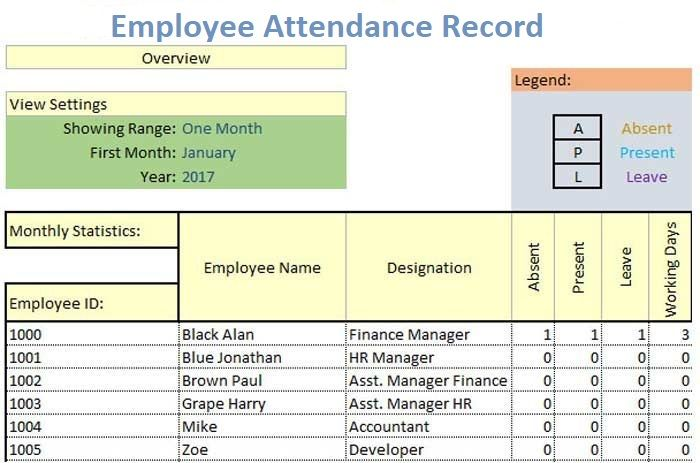 employee attendance record template excel excel templates in 2018